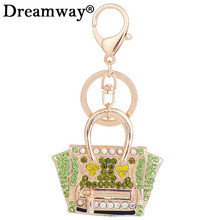 Europe & the United States style exquisite small gift pendant crystal bag shape keychain female bag creative ornaments keyrings(China)