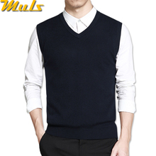 Mens vest sweaters casual style wool knitted business men sleeveless vest blusas 4XL Muls brand Brown Gray Black Navy MS16035(China)