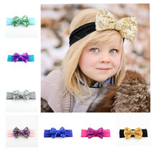 Wholesale 105pcs/lot Popular Big Embroided Sequin Bow Headband with Cotton Band Princess Hair Embellishment FD220