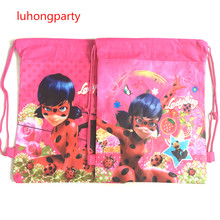 1pcs Anime Printing gift Bag Miraculous Ladybug Backpacks Marinette Cat Noir for Children Fashion Girls Kids Custom Made Bag(China)