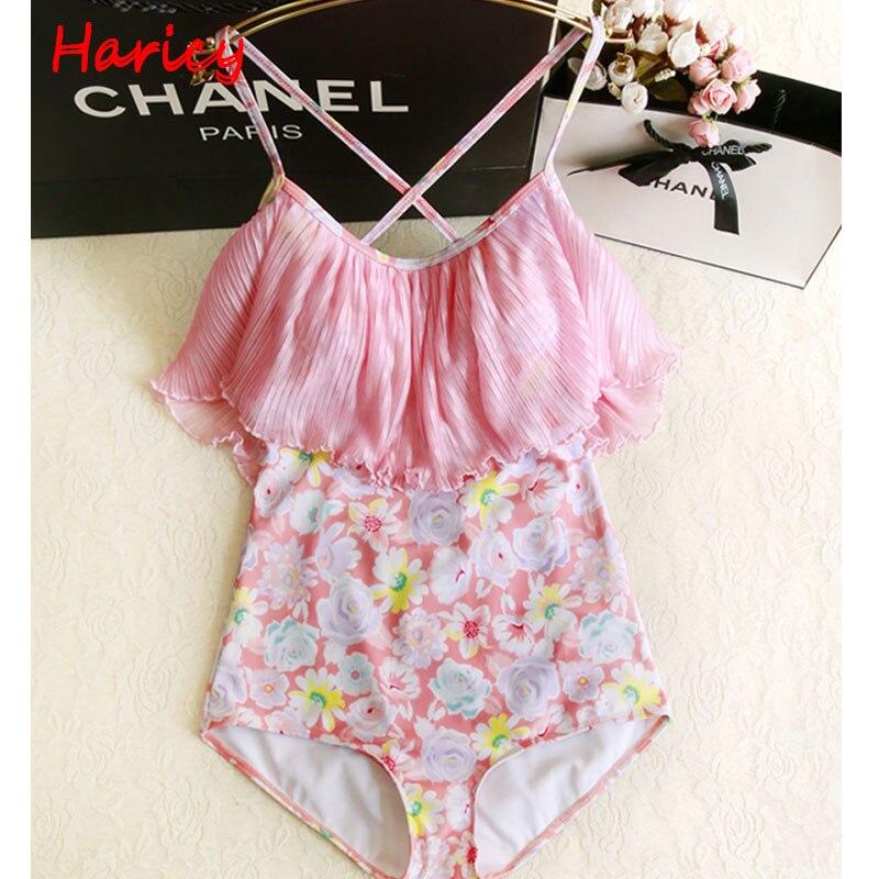 2017 Sexy Off The Shoulder Print Floral Pink Swimwear Women One Piece Swimsuit Bathing Suit Ruffle Monokini Swim Suits Wear<br>
