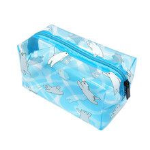 PVC Transparent Cute Cosmetic Bags Candy Color Women's Travel Bags Clear Beautician Organizer Wash Pouch Makeup Case Accessories