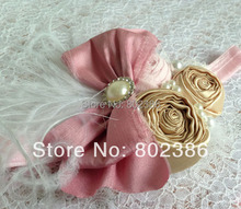 Free Shipping Gold satin Roll Flower Ivory Ostrich Feather Dupioni Silk Bow Headband Kids Hair Accessories(China)
