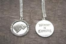 Game of Thrones Stark House Symbol Wolf Pendant Necklace Unisex Winter Is Coming with Antique Silver(China)
