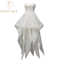 Buy Sunvary High-end Strapless Sweetheart Wedding Dress Asymmetrical Hemline Lace Tulle Bridal Dress Princess Beach Marriage Dress for $186.19 in AliExpress store