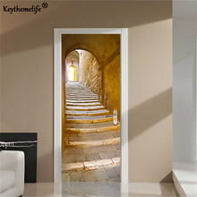 Keythemelife 2 pcs/set Stone ladder 3D Wall Stickers DIY Mural Poster PVC Waterproof Door Stickers Imitation Decal Paper E