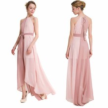 Women Chiffon Sexy Haterneck Maxi Dress Beach Boho Patchwork Long Dress Bridesmaids Split Party Dresses Robe Vestidos YF646