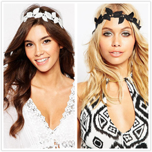 NEW black white leaf headbands hair accessories for women elastic band girls head wraps hairbands turban accessories hair band(China)