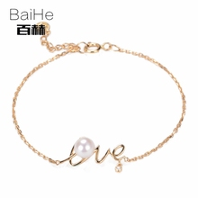 BAIHE Solid 14K Yellow Gold 6mm Certified 100% Genuine Natural Pearl Wedding Women Trendy Fine Jewelry Elegant unique Bracelet(China)