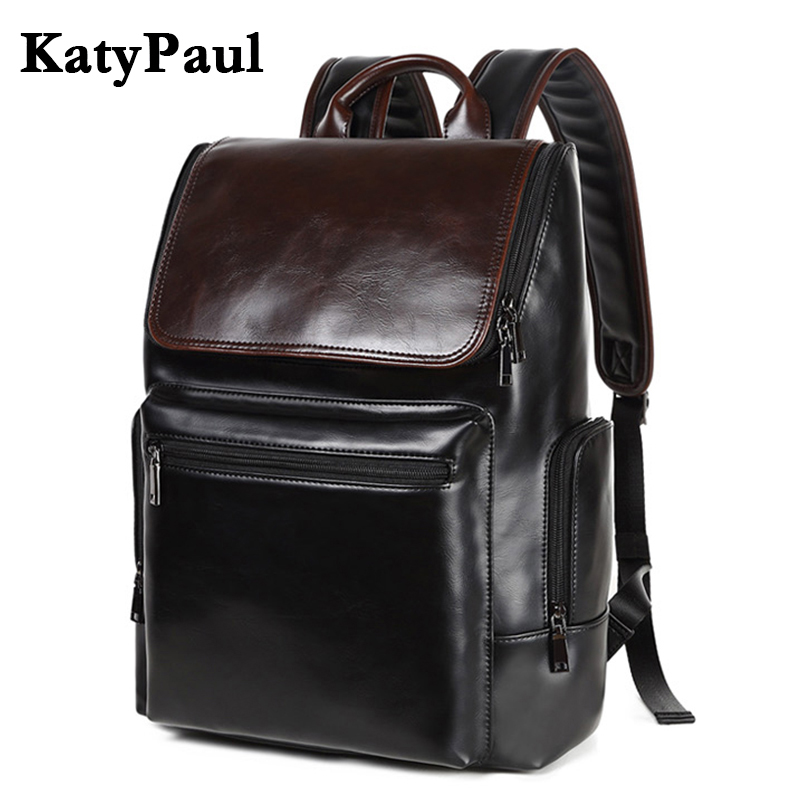 KatyPaul 2017 Mens Brand Leather Backpack Casual Male College Students School Bag Business Laptop Daypacks Travel Bags Mochila<br>