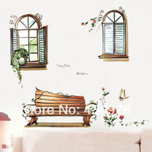 QZ760 Free Shipping 1Pcs Windows Korea Style Flower Bonsai Vintage Bench Removable PVC Wall Stickers Elegant Decoration Gift
