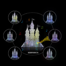 LED Flash Kids 3D Puzzle Creative Crystal Puzzle Castle Construction Model Assembled Light Music Puzzles Children Gifts GH753