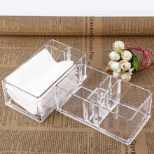 Clear Acrylic Coffee Tea Bags Holder Accessories Display Boxes Plastic Tissue Paper Holder With tooth-pick Storage Box