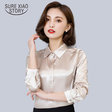 Spring and Fall New Arrival 2016  Hot Sale Female Lace Casual Silk Blouse Slim Women Silk Shirt Plus Size Plus Size 103B 25