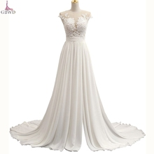Beach Wedding Dresses 2017 A-Line Side Slit Elegant Lace Appliques Chiffon Plus Size Wedding Bridal Gowns Dress Vestido De Noiva(China)
