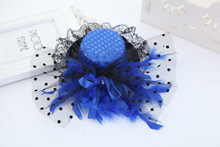 Golden Blue Pink Red Fashion 13CM Top Hat Sequined Lace Hair Clip Feather Fabric Hairpin Girls Kid Latin Dance Show Headdress