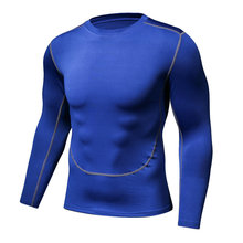 Tights male two generation dark blue clothing fitness movement fast dry long sleeved T-shirt bottoming compression(China)