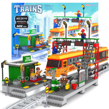 928pcs AlanWhale Passenger Station locomotive Train Model Building Blocks Bricks Playset Railway Stations Compatible With Lego