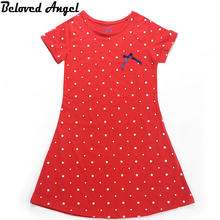 Beloved Angel New Design Baby Girls Dress Summer Short Sleeve Children Girl Bowknot Dresses 2017 Casual Kids Princess Party Wear