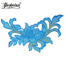 YACKALASI 3D Flower Embroidery Applique Iron on Apparel Trim Fashion Patches Floral Fluorsecent Green 24.3*13cm(China)