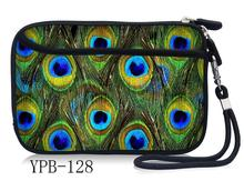"Peacock Feather 2.5"" Portable Hard Disk Bag Case Zipper for External Hard Drive Disk/powerbank /Mp5 HDD Box bag(China)"