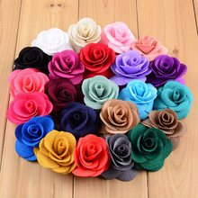23pcs/lot 23colors 6cm Fashionable Corn Grain Cloth Rose Flower without Clips Flatback for Kids DIY Garments Hair Accessories(China)