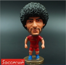 Kodoto National 6.5 cm Height Resin Football Doll 8 Fellaini Figure Beligum Red Kit Collections Gift Black and Gold Hair Random