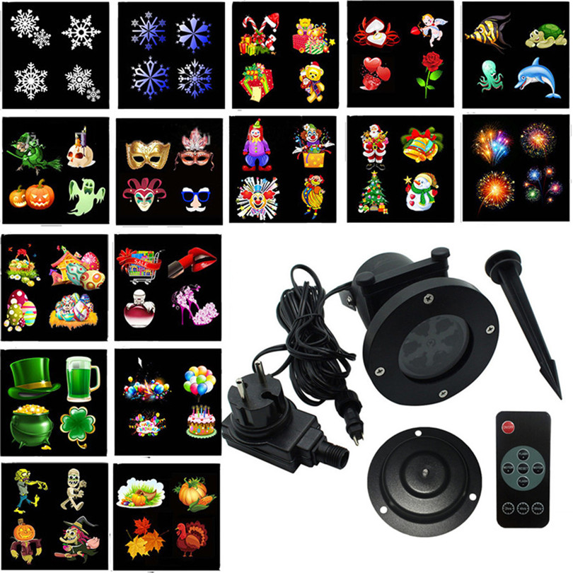 Trecaan Christmas Snow Laser Projector Light 16 Slide Outdoor Star Snowflake LED Stage Light For Party Landscape Garden Light<br>