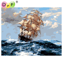 DPF Frameless Oil painting digital by numbers diy picture coloring on canvas handmade wall decoration Sailing out to sea(China)