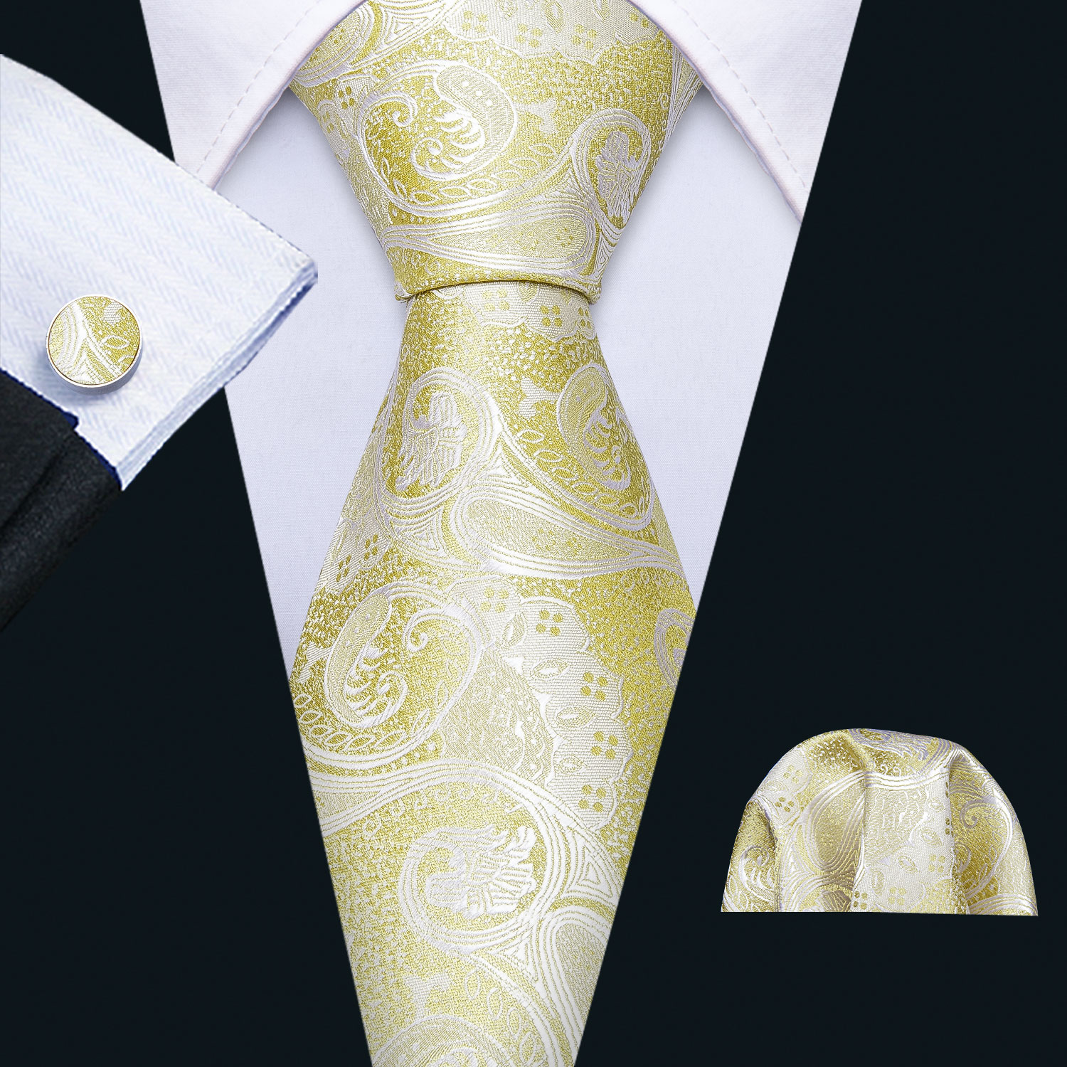 Mens Wedding Tie Yellow Foral Silk Tie Hanky Set Barry.Wang 8.5cm Fashion Designer Neck Ties For Men Party Dropshipping FA-5145