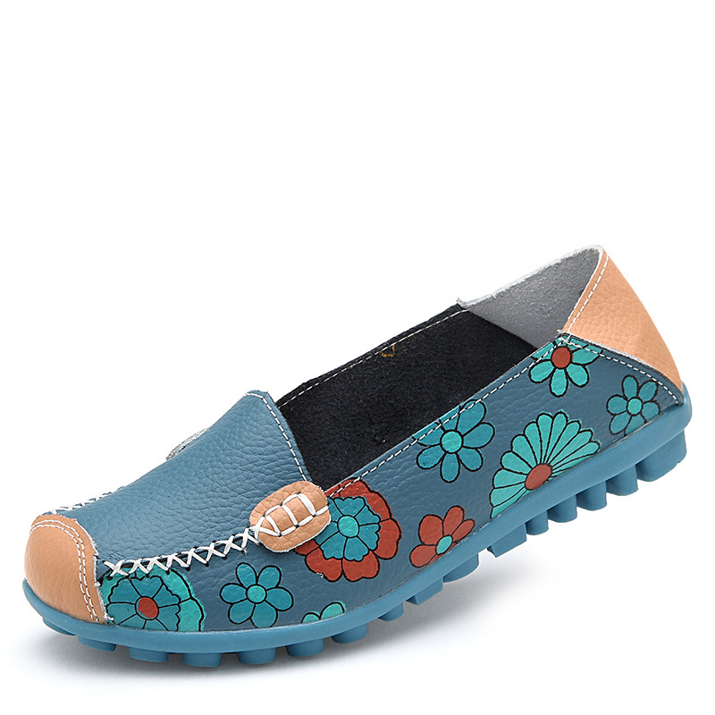 2017 Spring Women Casual Shoes Female Genuine Leather Printing Loafers Shoes Woman Fashion Slip On Shallow Flats Shoes(China)