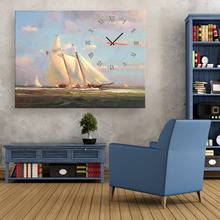 Free Shipping Art Print E-HOME Sailing On The Sea Clock in Canvas 1pcs wall clock