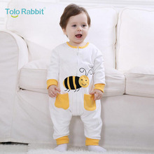 Spring Autumn Newborn Baby Clothes Cotton Infant Boy Clothes Cheap Cartoon Animal Bee Jumpsuits Baby Girls Rompers Baby Clothing