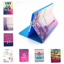 Lovely Cute Tower Painting Case for Apple ipad air 2 New Folio Stand Case Cover for ipad air2 for ipad6 Tablet PC Case 13 Colors(China)