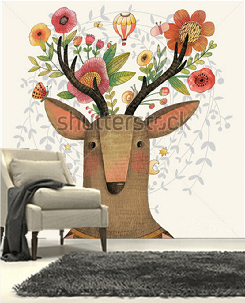 The custom 3D murals,Sweet deer and flowers made in watercolor technique ,living room sofa TV wall bedroom wall paper<br>