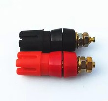 red and black Gold-plated Audio power amplifier binding post  4mm Banana socket plum blossom terminal 2pcs/lot