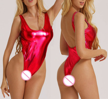 Buy sexy glisten Metallic PVC Faux Leather costumes underwear Catsuit product erotic babydoll/baby doll dress Teddies bikini red