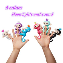 Fingerlings monkey 6 color Electric Monkey Eyes can turn and sound/ joints are moving Pet shop toys Kids Christmas gifts(China)