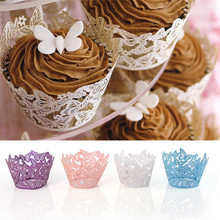50pcs/lot Little Vine Lace Laser Cut Cupcake Paper Wrappers Wedding Baking Cup Cake Liners Round DIY Baking Fondant Muffin Molds