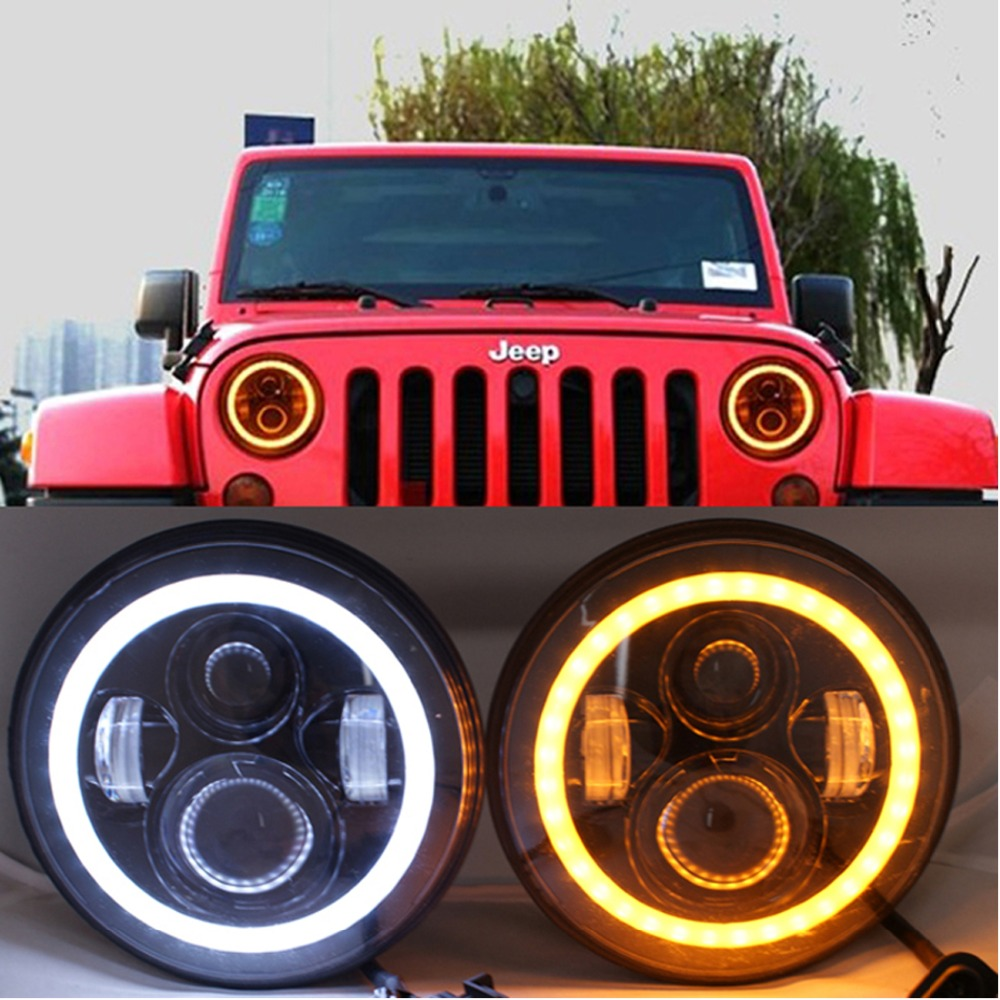 for Jeep headlight 7 Inch LED Halo Headlights Angel Eyes for JK CJ  Daymaker with Halo Angel Eye &amp; DRL &amp; Turn Signal Lights<br><br>Aliexpress