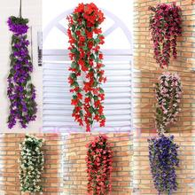 Vine Flowers Artificial Fake Violet Hanging Garland Hanging Home Wedding Decor(China)