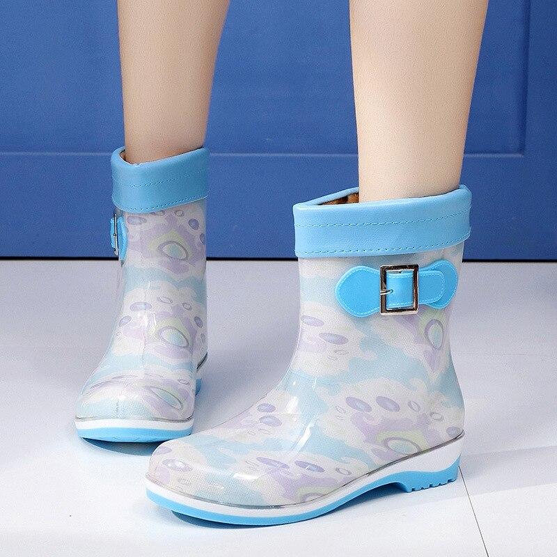 NEW 2017 Spring Winter Rain Boots Women Candy Color Flat Heels Round Toe Ankle Rainboots Waterproof Warm Boots Women Pink Purple<br><br>Aliexpress