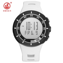 Hot Sale OHSEN Brand Digital LCD White Mens Boys Watch reloj hombre 50M Dive Silicone Strap Outdoor Sport Wristwatch Male Gifts(China)