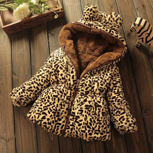baby girls winter jacket leopard print outerwear 0-6year infants clothes children thickening plus velvet cotton-padded coats(China)