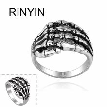 Hot Sale Finger Art Antique Silver Retro Titanium Stainless Steel Ring Punk Biker Jewelry Ghost Claw Ring Hand Bones