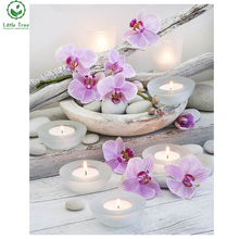 full resin square crystal inlay 5d diamond embroidery needlework blooming orchid candle stones novelty cross stitch wall sticker
