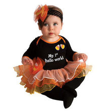 fall children clothing 4PCS infant toddler Baby Girls Romper Tutu Skirt Outfit Fancy Dress Halloween cosplay Pumpkin Costume Set