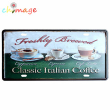 CLASSIC ITALIAN COFFEE CAR LICENSE PLATE Vintage Tin Sign Bar pub home KITCHEN Wall Decor Retro Metal Art Poster(China)