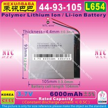 [L654] 3.7V 6000mAh [4493105] NTC,Polymer lithium ion / Li-ion battery for tablet pc,POWER mobile bank;e-bookP85,VI40,A86(China)