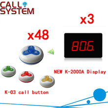 Wireless Paging System Hot Sell For Restaurant 433.92MHZ Top Popular Restaurant Calling Free Shipping(3 display+48 call button)(China)